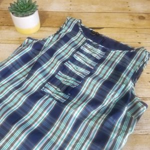 EUC Talbot's Ruffled Shirt Coastal Plaid Dress